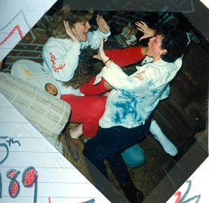 JT comes after L. and I hold her back.  And yes, back in 1989.