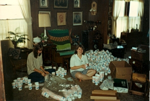 stuffing cups for the July 4th parade