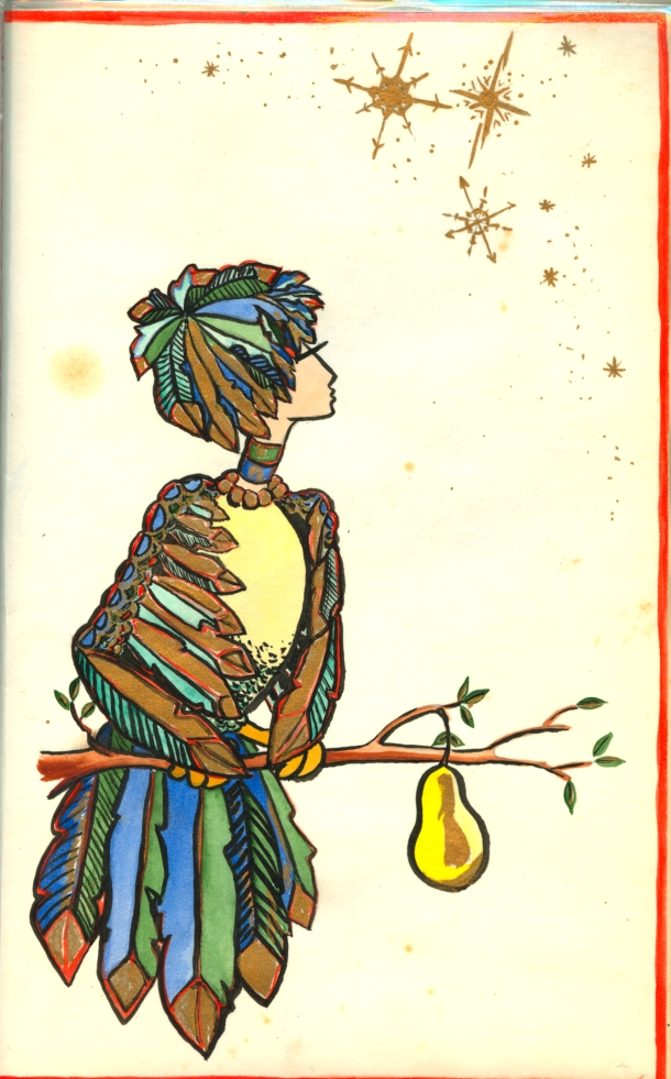 a partridge in a pear tree--or a self-portrait of my mother in a card