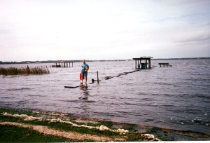 dad on the dock after a hurricane
